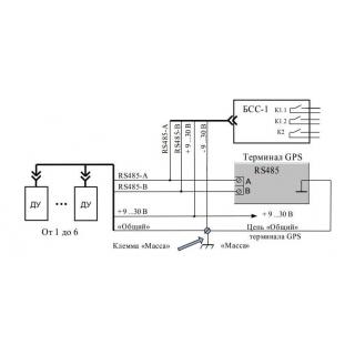 """Схема подключения сигнализации слива топлива """"БСС"""" с GPS терминалом"""